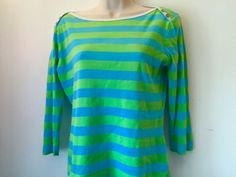 Fun Striped Knit Turquoise Blue Green Striped LILLY PULITZER Top 3/4 Sleeve M http://www.ebay.com/itm/Fun-Striped-Knit-Turquoise-Blue-Green-Striped-LILLY-PULITZER-Top-3-4-Sleeve-M-/221963037521 #topsblouses