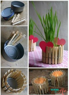 Macetero o portavelas con pinzas de madera
