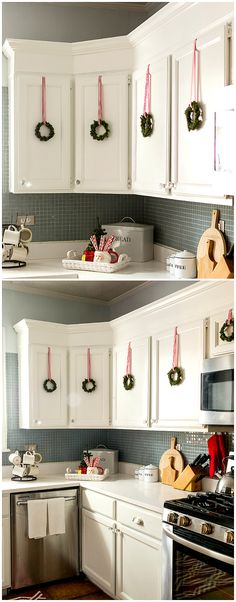 Decorating with wreaths indoors. Mini wreaths on kitchen cabinet doors for Christmas. Decorating kitchen for Christmas ideas. Hanging wreaths on pictures.