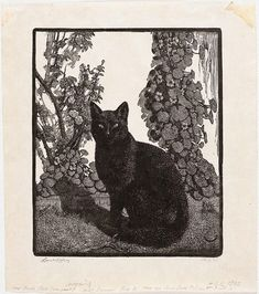 Lionel Lindsay, 1874 – 1961. The black cat, 1922, woodcut, printed in black ink on paper, 18.0 x 15.2 cm  :: Art Gallery NSW