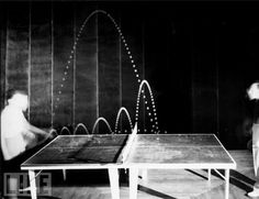 Hungarian player, Tibor Hazi, serves in a table tennis game played at Gjon Mili's studio in 1941 Harold Edgerton, Table Tennis Game, Gjon Mili, Multiple Exposure, Exposure Photography, Famous Photographers, Life Pictures, On Set, A Table