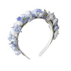 Blumenhaarband, Blumenkranz, Hair, Frisur,  Haarreifen - Blumenhaarband in zarten Hellblau und Flieder Tönen.