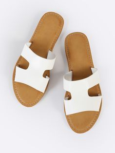Shop H Cutout Open Toe Slide Sandals WHITE online. SheIn offers H Cutout Open Toe Slide Sandals WHITE & more to fit your fashionable needs. Sport Sandals, Slide Sandals, Women Sandals, Shoes Women, Ladies Sandals, Ladies Shoes, Flat Sandals, Dune, Tall Winter Boots