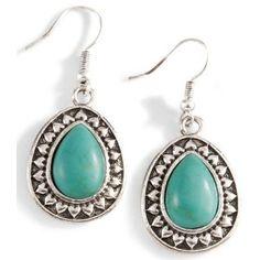 Silver-Tone Teardrop Faux Turquoise Earrings