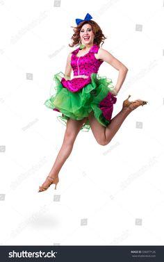 Disco dancer jumping against isolated white background. Full body.