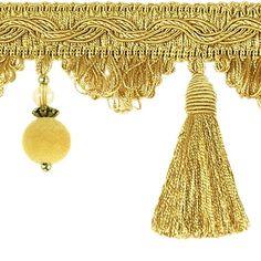 Quastenborte mit Korallen 80 mm breit Gold Zierband Posamentenborte m. Troddeln