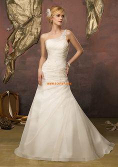 1-Schulter Organza Schnürung Brautkleider 2014