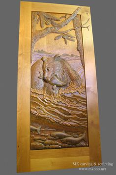 Title  Bear in the river  carved door Material Clear Alder Price includes Alder door thick) with frame and hinges. & River Fish carved door by Ron Ramsey of Lake Tahoe. I know a ... pezcame.com