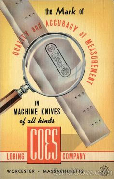 Advertising postcard for Loring Coes Company Machine Knives, Worcester, MA.