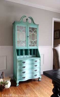 SOLD!!! - Antique Chippendale Hand Painted Cottage Chic Shabby Distressed Turquoise Aquamarine Secretary Desk Hutch Display Cabinet