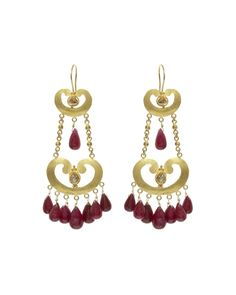 Carolyn Roumeguere Diamond and Ruby Maasai Earrings £2498 handmade in Kenya for COUTURELAB