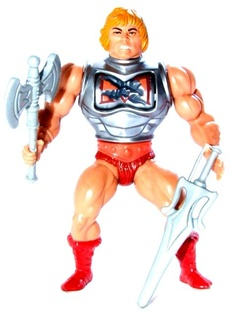 """Battle Armor He-Man, in a pose similar to that found on the iconic back-of-the-card toy portraits from Mattel's """"Masters of the Universe"""""""