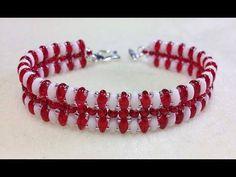 Tutorial: Christmas beaded bracelet [EASY] using Superduo beads / Рождественский браслет из бисера - YouTube
