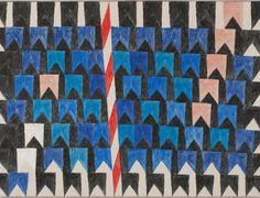 Bandeirinhas e mastros. Década  de 1970. Alfredo Volpi (1896-1988). Pintor ítalo-brasileiro.