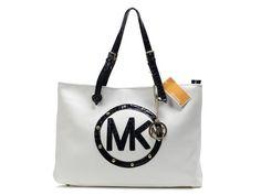 Michael Kors White Jet Set Zip-Top Luggage Bag