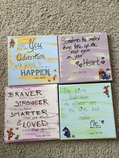 My own Winnie the Pooh DIY canvas quotes for my baby's nursery!  Already coloured canvases, with a sweeping of acrylic paint for extra color and my black scrapbooking pen. Plus some cute Winnie stickers. Wa la