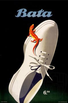 Bata salamander: poster by Eidenbenz Atelier, 1950 #batashoes #bata120years #advertising