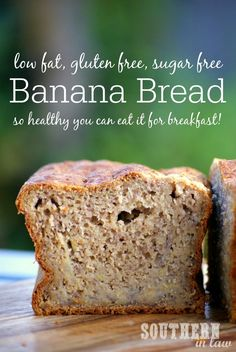 Hundreds of recipes promise to be The Best Banana Bread Recipe - but Kristy was never satisfied. so she created a Healthy Banana Bread Recipe that is low fat, gluten free, sugar free and healthy…More Best Healthy Banana Bread Recipe, Sugar Free Banana Bread, Banana Bread Recipes, Sugar Free Desserts, Sugar Free Recipes, Gluten Free Recipes, Diabetic Snacks, Healthy Snacks For Diabetics, Healthy Breakfasts