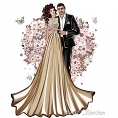 Vedi la foto di Instagram di @anna_shershen • Piace a 368 persone Fashion Art, Fashion Models, Vintage Fashion, Fashion Outfits, Fashion Design, Fashion Illustration Dresses, Fashion Sketches, Wedding Dress Drawings, Wedding Couple Cartoon