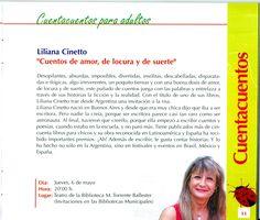"""Liliana Cinetto. """"Cuentos de amor, de locura y de suerte"""". Cuentacuentos para adultos. Mayo 2010"""
