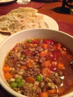 Mom's Vegetable Beef Barley Soup (1) From: Cookin' Chicks, please visit