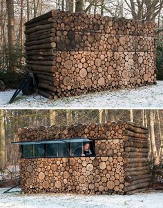 One might see this structure atop a mountain or on a lake and and think it a pile of rough-cut wood logs rather than a cleverly camouflaged modular living and work space. Designed by Hans Linberg, the 'logs' are merely a wood building facade covering a prefabricated plastic and steel frame.