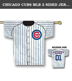 CHICAGO CUBS MLB 2 SIDED JERSEY BANNER (34 X 30) by BSI. Polyester 100%; Imported; 100% heavy duty 150 denier polyester; 2-Sided, graphics on both sides; Licensed MLB Product;.