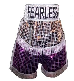 Custom Boxing Shorts : Kickboxing shorts made of medium weight 100% polyester satin with elastic and draw string waist with patch work.