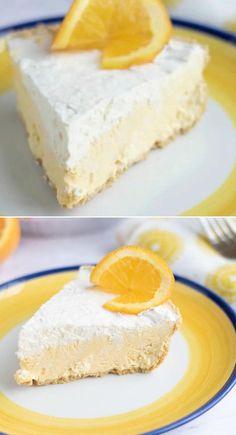 Easy No Bake Desserts, No Cook Desserts, Frozen Desserts, Creamsicle Pie Recipe, Pie Recipes, Dessert Recipes, Orange Creamsicle, Strawberry Pie, Desert Recipes