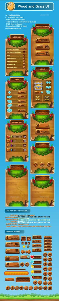 Buy Wood and Grass Game UI by potatographics on GraphicRiver. Wood and Grass Game UI include 1 PSD and 1 AI files and transparent PNG files: ready popup files in 1 AI PSD fi. Powerpoint Game Templates, Free Game Assets, Board Game Template, Pixel Art Games, Game Interface, Game Title, Game Background, Information Graphics, Game Ui