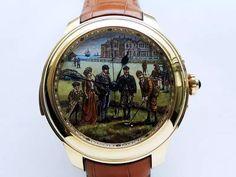 Golf golf watch with enamel dial