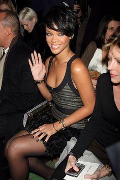 Rihanna wearingBotkier Gladiator small shoulder bag  Proenza Schouler 2008 fashion show February 4 2008