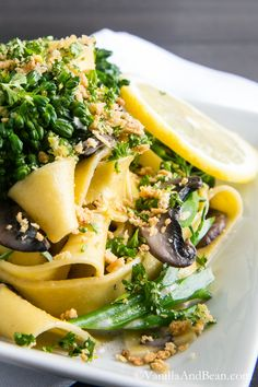 Pappardelle with Broccolini and Crunchy Gremolata. I use almond milk with a bit of Greek yogurt in place of heavy cream. Delicious! | Vanilla And Bean