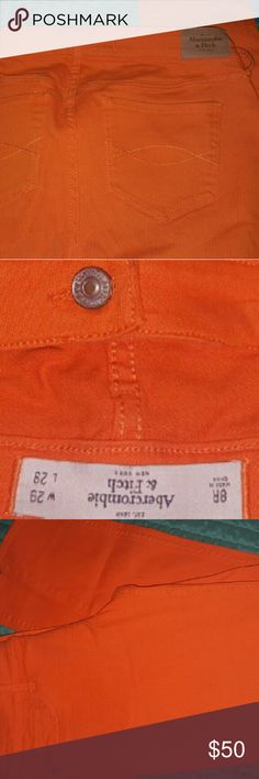Just Reduced!!  Abercrombie bright colored jeans Orange skinny jeans; never worn. Abercrombie & Fitch Jeans Skinny