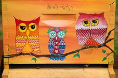 Wise Owls Beehive Box for Honey Bees, Custom Painted