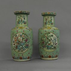 A Pair of Turquoise Ground Famille Rose Vases  C 1850 China