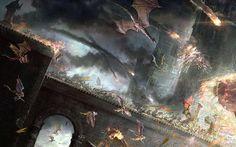 Castillos dragones batallas arte puentes fuego Ilustraciones de la fantasía fondo de pantalla