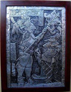 Ritual de Sangria - Reprodução artística em latonagem de ritual de sangria cultuado pela civilização Maia.