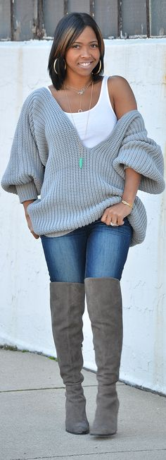 Fall Outfit Idea, Over the knee boots, Outfit Idea, Sweater, Grey, Gray, Indianapolis Style Blogger