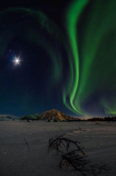 Aurora Borealis and Moon: ...