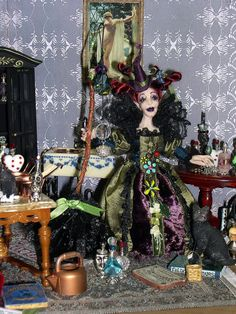 Halloween OOAK Miniature Witch Poseable by LoreleiBlu on Etsy, $95.00 SOLD