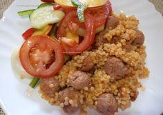 Receitas da Romy: Cuscus com mini almôndegas e salada de tomate com ...
