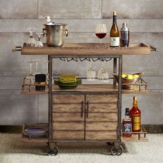 Upton Home Tuscany Espresso/ Black Wine/ Bar Cart Serving Table | Overstock.com Shopping - The Best Deals on Kitchen Carts