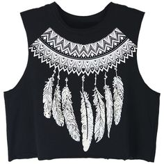 Black Tribal Feather Print Crop Vest Top (64 BRL) ❤ liked on Polyvore featuring tops, shirts, crop top, blusas, round top, cotton shirts, cotton crop top, tribal print crop top and tribal print top