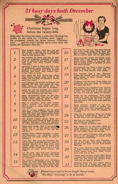 Betty Crocker advice - What you really needed to do before Christmas in 1958 (from Dec. 1958 issue of Family Circle) 1950s Christmas, Noel Christmas, Christmas Fashion, Vintage Christmas Cards, Christmas Images, Vintage Holiday, Before Christmas, Winter Christmas, Xmas