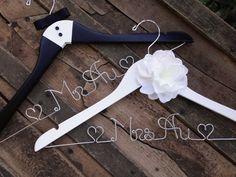 SALE GIFT SET Bride and Groom Hangers-Tuxedo by DeighanDesign