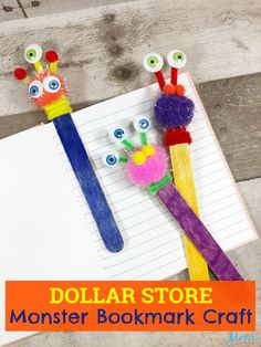 Dollar Store Monster Bookmark Craft for Kids - My best diy and crafts list Cute Kids Crafts, Toddler Crafts, Craft Stick Crafts, Paper Crafts, Diy Crafts, Simple Crafts, Craft Ideas, Bookmarks Diy Kids, Bookmark Craft