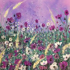 ARTFINDER: Purple poppies by Jane Morgan - This painting was inspired by purple and white and pink tones under a matching sky. Poppies and corn, glitter and splash this lovely canvas will make a hands...