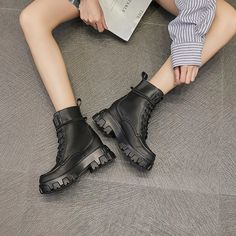 Women's Casual Shoes Women's Female Ladies Genuine Leather Ankle Boots – Touchy Style Black Shoe Boots, Black Casual Shoes, Black And White Heels, Black Lace Up Boots, Leather Ankle Boots, Women's Casual, Calf Boots, Female, Women's Shoes
