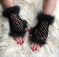 Black Crochet Mittens Fingerless Gloves Lace Hand by Crochetfield